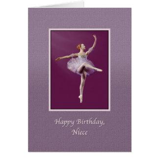 Cumpleaños, sobrina, bailarina en púrpura tarjeta de felicitación