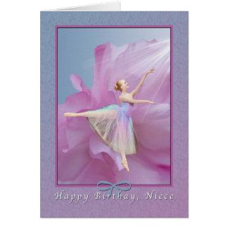 Cumpleaños, sobrina, bailarina en rosa y azul tarjeta de felicitación