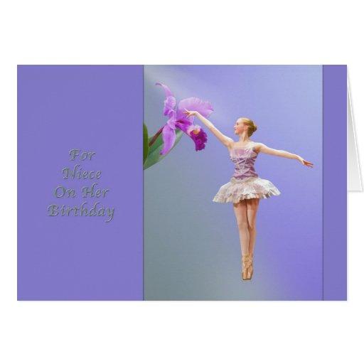 Cumpleaños, sobrina, bailarina, orquídea felicitacion