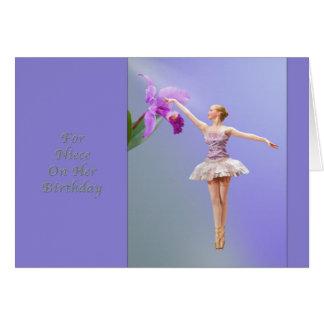 Cumpleaños, sobrina, bailarina, orquídea tarjeta de felicitación