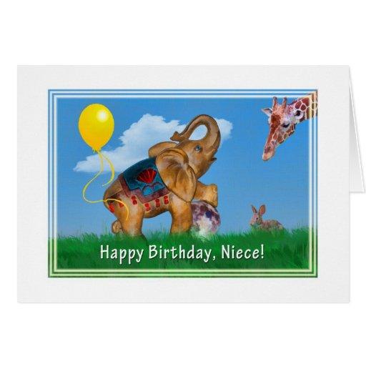 Cumpleaños, sobrina, elefante, jirafa tarjetón