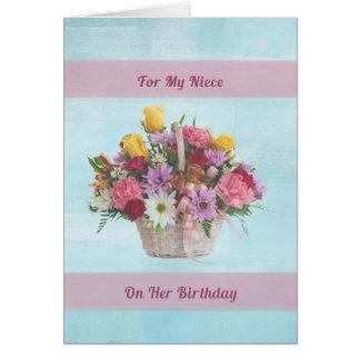 Cumpleaños, sobrina, flores coloridas en una cesta tarjeta de felicitación