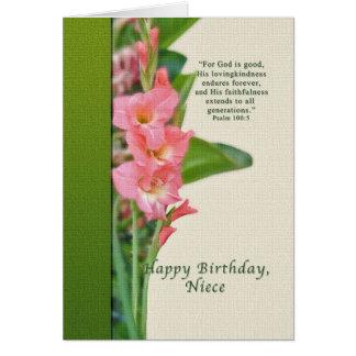 Cumpleaños, sobrina, gladiolo rosado tarjeta de felicitación