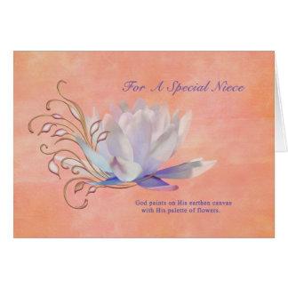 Cumpleaños, sobrina, lirio de agua, religioso tarjeta de felicitación