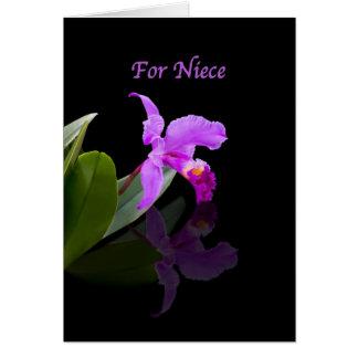 Cumpleaños, sobrina, orquídea reflejada en negro tarjeta de felicitación