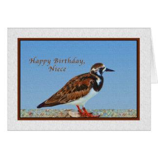 Cumpleaños, sobrina, pájaro del Turnstone Tarjeta De Felicitación