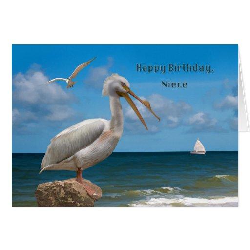 Cumpleaños, sobrina, pelícano blanco en una roca tarjetón