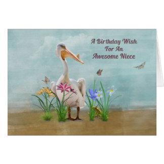 Cumpleaños, sobrina, pelícano, flores y mariposas felicitacion