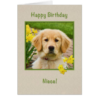 Cumpleaños, sobrina, perro del golden retriever, tarjeta