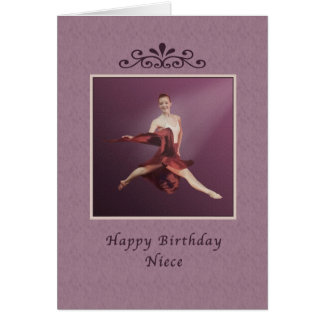 Cumpleaños, sobrina, saltando a la bailarina en tarjeta de felicitación
