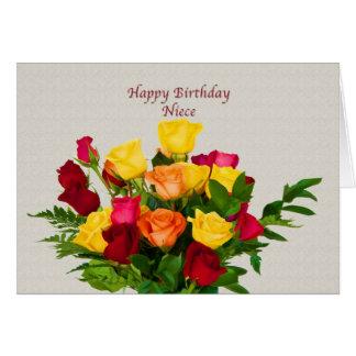 Cumpleaños, sobrina, tarjeta color de rosa del ram