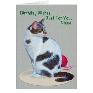 Cumpleaños, sobrina, tarjeta de ojos verdes del ga