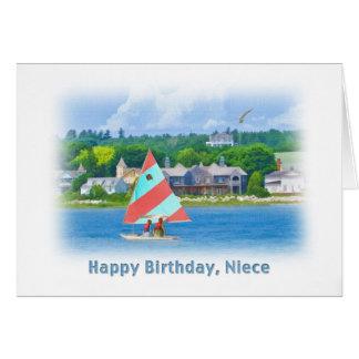 Cumpleaños, sobrina, velero en un lago, náutico tarjeta