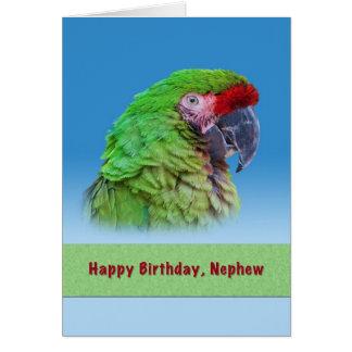 Cumpleaños, sobrino, loro verde tarjeta de felicitación