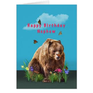Cumpleaños, sobrino, oso y mariposas tarjeta de felicitación