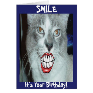 Cumpleaños sonriente del gato tarjeta