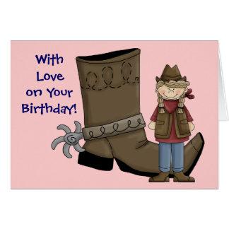 Cumpleaños soy una vaquera y una tarjeta