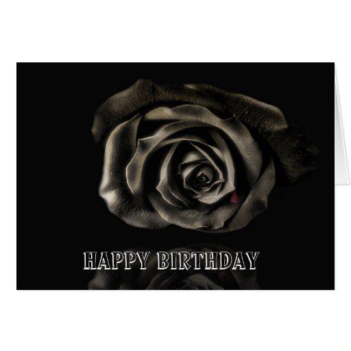 Cumpleaños subió negro gótico del vampiro feliz tarjetón