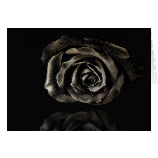 Cumpleaños subió negro gótico del vampiro feliz tarjeta