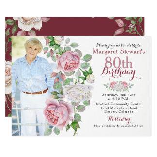 Cumpleaños subió país rosado de la foto de Borgoña Invitación 12,7 X 17,8 Cm
