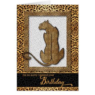 Cumpleaños tardío - estampado de animales del tarjeta de felicitación