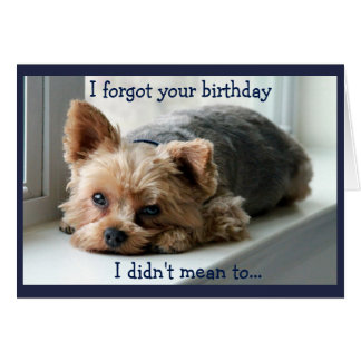 Cumpleaños tardío triste de Yorkie Tarjeta
