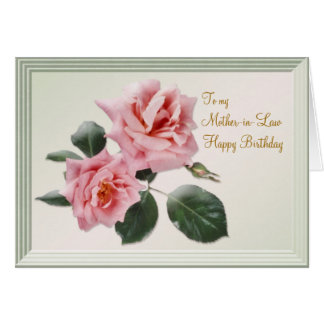 Cumpleaños, tarjeta de la suegra. Rosas rosados
