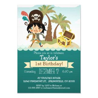 Cumpleaños temático del pirata, fiesta del invitación 12,7 x 17,8 cm