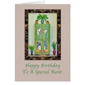 Cumpleaños, tía, aún vida con el gabinete antiguo tarjeta de felicitación
