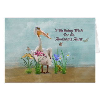 Cumpleaños, tía, pelícano, flores y mariposas tarjeton