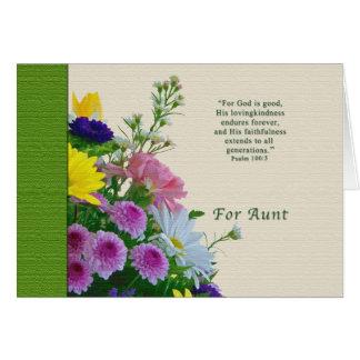 Cumpleaños, tía, ramo floral, religioso tarjeton
