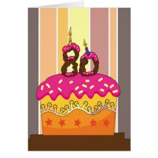 cumpleaños - torta con las velas 80 - 80.o tarjeta de felicitación