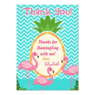 Cumpleaños tropical de Flamingle agradezcámosle Invitación 11,4 X 15,8 Cm