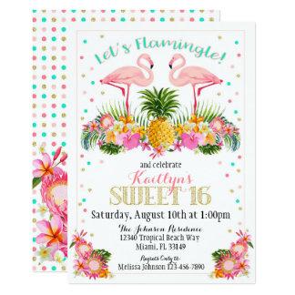 Cumpleaños tropical del dulce dieciséis de la piña invitación 12,7 x 17,8 cm
