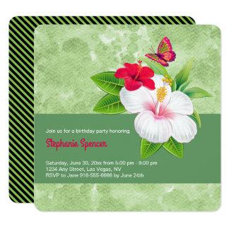 Cumpleaños tropical intrépido de la mariposa del invitación 13,3 cm x 13,3cm