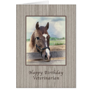 Cumpleaños, veterinario, caballo de Brown con el Tarjeta De Felicitación