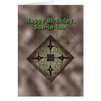 Cumpleaños, yerno, Brown y arte abstracto verde Tarjeta De Felicitación