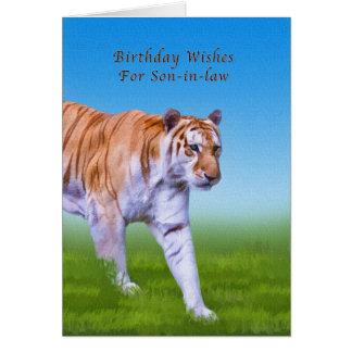 Cumpleaños, yerno, el caminar del tigre tarjeta de felicitación