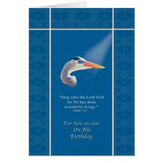 Cumpleaños, yerno, garza de azul religioso, grande tarjeta de felicitación