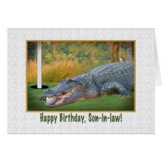 Cumpleaños, yerno, golf, cocodrilo tarjeta de felicitación