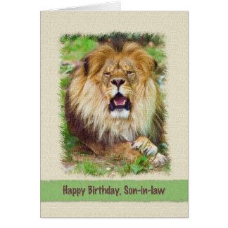 Cumpleaños, yerno, león tarjeta de felicitación