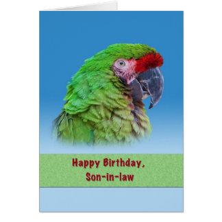 Cumpleaños, yerno, loro verde tarjeta de felicitación