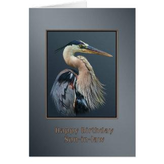 Cumpleaños, yerno, pájaro de la garza de gran azul felicitacion