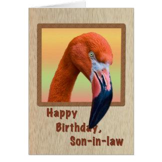 Cumpleaños, yerno, pájaro del flamenco tarjeta de felicitación