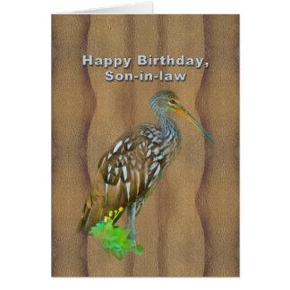 Cumpleaños, yerno, pájaro del pantano de Limpkin Tarjeta De Felicitación