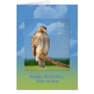 Cumpleaños, yerno, pájaro Legged áspero del halcón Tarjeta De Felicitación