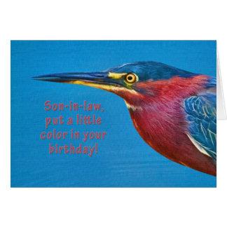 Cumpleaños, yerno, pájaro verde de la garza tarjeta de felicitación