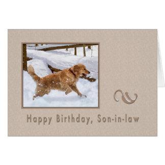 Cumpleaños, yerno, perro del golden retriever en tarjeta de felicitación