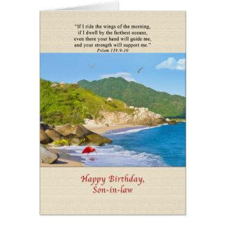 Cumpleaños, yerno, playa, colinas, pájaros, océano tarjeta de felicitación