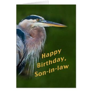 Cumpleaños, yerno, tarjeta del pájaro de la garza